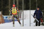 09/12/2016, Pokljuka - IBU Biathlon World Cup.<br /> Laura Dahlmeier competes at the sprint race in Pokljuka, Slovenia on 09/12/2016.