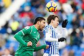 7th January 2018, Estadio Municipal de Butarque, Legales, Spain; La Liga football, Leganes versus Real Sociedad; Mauro Dos Santos (Leganes FC) wins a header
