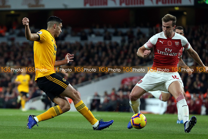 Rob Holding of Arsenal and Rubén Neves of Wolves during Arsenal vs Wolverhampton Wanderers, Premier League Football at the Emirates Stadium on 11th November 2018