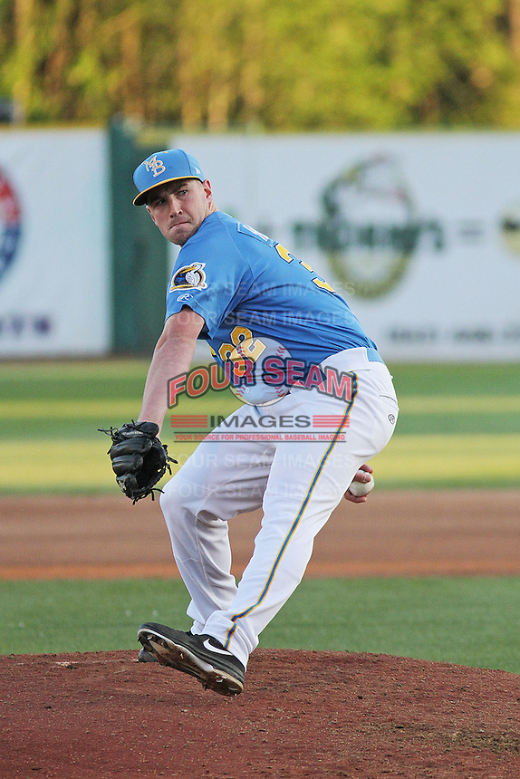 Myrtle Beach Pelicans pitcher Ryan Harvey #32 on the mound during a game against the Potomac Nationals at Ticketreturn.com Field at Pelicans Ballpark on April 16, 2014 in Myrtle Beach, South Carolina. Potomac defeated Myrtle Beach 7-3. (Robert Gurganus/Four Seam Images)