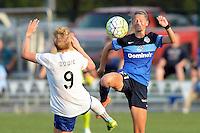 Kansas City, MO - Sunday August 28, 2016: Natasha Dowie, Katie Bowen during a regular season National Women's Soccer League (NWSL) match between FC Kansas City and the Boston Breakers at Swope Soccer Village.