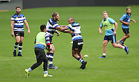 "Bath Rugby players take part in a coaching session with children from Twickenham Academy and Bournemouth Collegiate School. Bath Rugby Photocall for ""The Clash"" on September 22, 2016 at Twickenham Stadium in London, England. Photo by: Andrew Fosker / Onside Images"