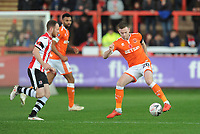 Blackpool's Oliver Turton under pressure from Exeter City's Jake Taylor<br /> <br /> Photographer Kevin Barnes/CameraSport<br /> <br /> Emirates FA Cup First Round - Exeter City v Blackpool - Saturday 10th November 2018 - St James Park - Exeter<br />  <br /> World Copyright &copy; 2018 CameraSport. All rights reserved. 43 Linden Ave. Countesthorpe. Leicester. England. LE8 5PG - Tel: +44 (0) 116 277 4147 - admin@camerasport.com - www.camerasport.com