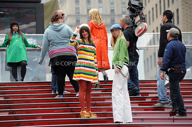 WWW.ACEPIXS.COM . . . . . ....April 25 2011, New York City....Actresses (L-R) Lea Michele and Heather Morris filming an episode of the hit series 'Glee' in Times Square on April 25 2011 in New York City....Please byline: KRISTIN CALLAHAN - ACEPIXS.COM.. . . . . . ..Ace Pictures, Inc:  ..(212) 243-8787 or (646) 679 0430..e-mail: picturedesk@acepixs.com..web: http://www.acepixs.com