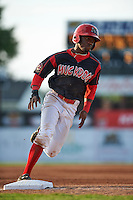 Batavia Muckdogs shortstop Anfernee Seymour (3) running the bases during a game against the Mahoning Valley Scrappers on July 3, 2015 at Dwyer Stadium in Batavia, New York.  Batavia defeated Mahoning Valley 7-4.  (Mike Janes/Four Seam Images)
