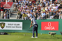 Doug Ghim (USA) putts onto the 18th green during Sunday's Final Round 4 of the 2018 Omega European Masters, held at the Golf Club Crans-Sur-Sierre, Crans Montana, Switzerland. 9th September 2018.<br /> Picture: Eoin Clarke | Golffile<br /> <br /> <br /> All photos usage must carry mandatory copyright credit (© Golffile | Eoin Clarke)