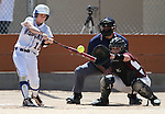 Western Nevada's Katelyn Bomar hits in a college softball game against North Idaho College at Edmonds Sports Complex, in Carson City, Nev., on Friday, April 18, 2014.<br /> Photo by Cathleen Allison/Nevada Photo Source