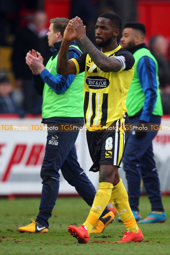 Abu Ogogo of Dagenham and Redbridge celebrates the victory - Stevenage vs Dagenham and Redbridge - Sky Bet League Two football at he Lamex Stadium on 21/03/15 - MANDATORY CREDIT: Dave Simpson/TGSPHOTO - Self billing applies where appropriate - 0845 094 6026 - contact@tgsphoto.co.uk - NO UNPAID USE