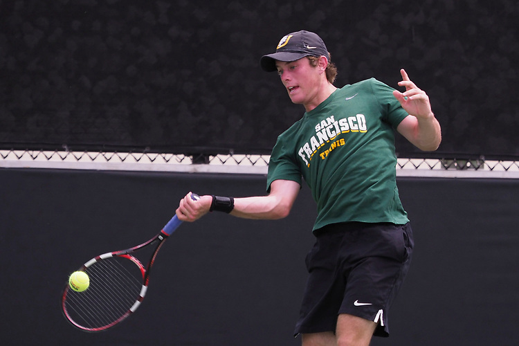 April 27, 2017; Claremont, CA, USA; San Francisco Dons player Ryan Marker during the WCC Tennis Championships at Biszantz Family Tennis Center.