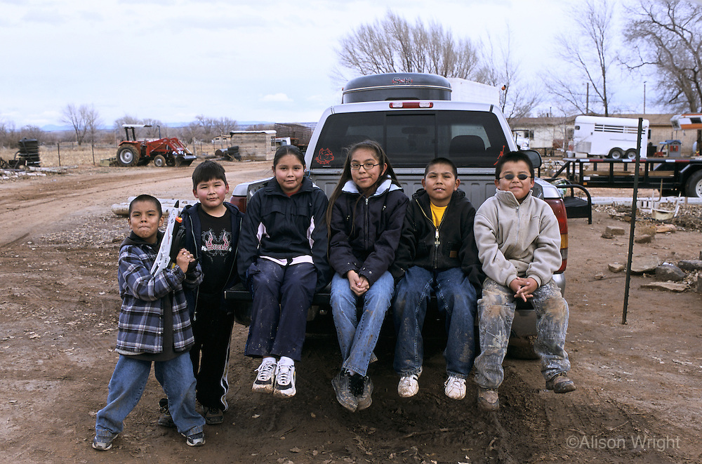 New Mexico, Navaho Indian Reservation.Families living in their hogan homes.