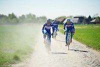 James Vanlandschoot (BEL/Wanty-GroupeGobert) &amp; Laurens De Vreese (BEL/Wanty-GroupeGobert) in the dust of cobbled roads<br /> <br /> 2014 Paris-Roubaix reconnaissance