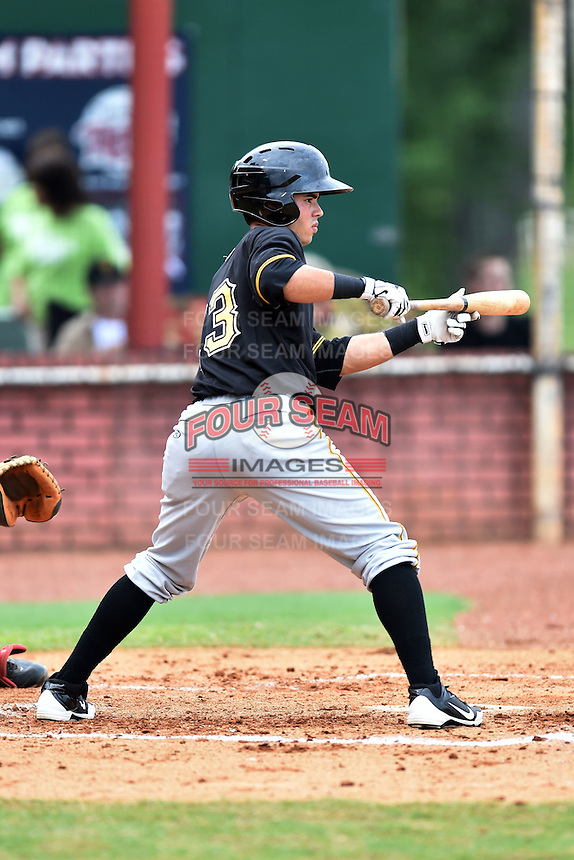 Bristol Pirates center fielder Ed Figueroa #13 swings at a pitch during a game against the Elizabethton Twins at Joe O'Brien Field June 30, 2014 in Elizabethton, Tennessee. The Twins defeated the Pirates 8-5 in game one of a double header. (Tony Farlow/Four Seam Images)