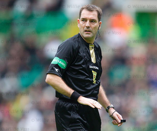Referee Dougie McDonald getting called a cheat by the Celtic support