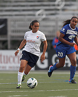 Sky Blue FC forward Monica Ocampo (8) brings the ball forward.  In a National Women's Soccer League Elite (NWSL) match, Sky Blue FC (white) defeated the Boston Breakers (blue), 3-2, at Dilboy Stadium on June 16, 2013.