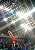Aug. 10, 2008; Beijing, CHINA; (Editors Note: Special effects filter used in creation of this image) Shawn Johnson (USA) performs on the vault during womens gymnastics qualification at the Olympics at the National Indoor Stadium. Mandatory Credit: Mark J. Rebilas-