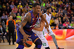 Turkish Airlines Euroleague 2017/2018.<br /> Regular Season - Round 13.<br /> FC Barcelona Lassa vs Unicaja Malaga: 83-90.<br /> Kevin Seraphin vs James Augustine.