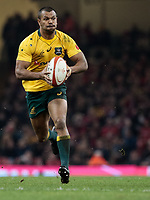 Australia's Kurtley Beale makes a break<br /> <br /> Photographer Simon King/CameraSport<br /> <br /> International Rugby Union - 2017 Under Armour Series Autumn Internationals - Wales v Australia - Saturday 11th November 2017 - Principality Stadium - Cardiff<br /> <br /> World Copyright &copy; 2017 CameraSport. All rights reserved. 43 Linden Ave. Countesthorpe. Leicester. England. LE8 5PG - Tel: +44 (0) 116 277 4147 - admin@camerasport.com - www.camerasport.com