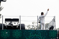 27th October 2019, Autodromo HermanRodriguez, Mexico City, Mexico; F1 Grand Prix of Mexico, Race Day; 44 Lewis Hamilton GBR, Mercedes AMG Petronas Motorsport celebrates his win with his car on the podium elevator