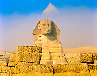 Khafre Pyramid and the Great Sphinx in Morning Fog, Giza Plateau, Egypt