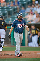 Cody Decker (17) of the Reno Aces bats against the Salt Lake Bees at Smith's Ballpark on June 26, 2019 in Salt Lake City, Utah. The Aces defeated the Bees 6-4. (Stephen Smith/Four Seam Images)
