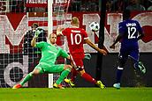 September 12th 2017, Munich, Germany, Champions League football, Bayern Munich versus Anderlecht;  Matz Sels goalkeeper of RSC Anderlecht tries to block the shot from Arjen Robben of Bayern Munchen