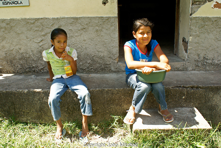 Two young Honduran girls in the Lenca Indian village of La Campa, Lempira, Honduras