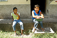 Two young Honduran girls in the Lenca Indian village of La Campa, Lempira, Honduras