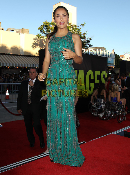Salma Hayek.The World Premiere of 'Savages' held at The Grauman's Chinese Theatre in Hollywood, California, USA..June 25th, 2012.full length dress black green beads beaded sleeveless hand arm .CAP/ADM/KB.©Kevan Brooks/AdMedia/Capital Pictures.