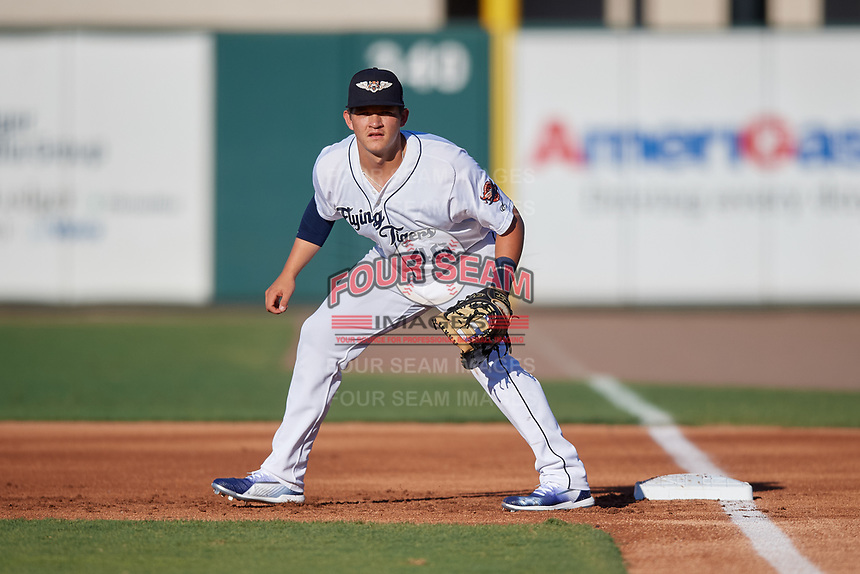Lakeland Flying Tigers first baseman Nick Ames (46) during a Florida State League game against the Palm Beach Cardinals on May 22, 2019 at Publix Field at Joker Marchant Stadium in Lakeland, Florida.  Palm Beach defeated Lakeland 8-1.  (Mike Janes/Four Seam Images)