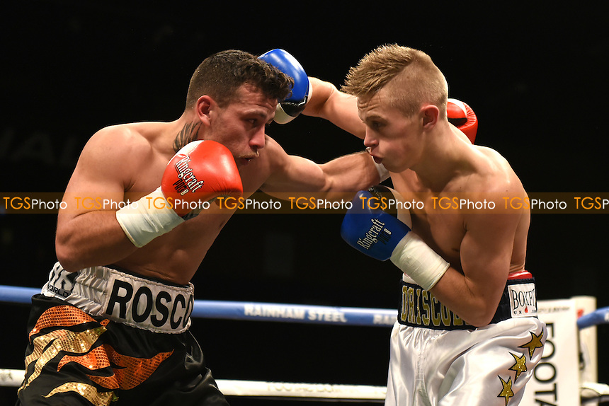 Charlie Driscoll (white shorts) defeats Ross Jameson during a Boxing Show at the Brentwood Centre on 25th November 2016
