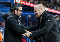 Burnley's manager Sean Dyche greets his Huddersfield Town counterpart David Wagner<br /> <br /> Photographer Andrew Kearns/CameraSport<br /> <br /> The Premier League - Huddersfield Town v Burnley - Wednesday 2nd January 2019 - John Smith's Stadium - Huddersfield<br /> <br /> World Copyright © 2019 CameraSport. All rights reserved. 43 Linden Ave. Countesthorpe. Leicester. England. LE8 5PG - Tel: +44 (0) 116 277 4147 - admin@camerasport.com - www.camerasport.com