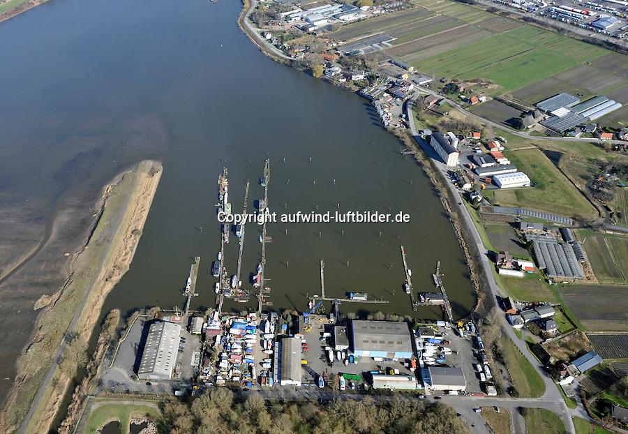 Holzhafenufer: EUROPA, DEUTSCHLAND, HAMBURG 02.04.2010: Moorfleet, Holzhafen,  Billwerder Bucht, Luftbild, Holzhafenufer 4,  Green City, Werft, Anleger, Gewerbe