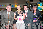 CHRISTENING DAY: Jamie McIntyre and Nicola Carey, Shanakil, Tralee who had their little baby Katelynn christened by Fr Patsy Lynch in St Brendans church last Saturday and afterwards held a family celebration in Kirby's Brogue which included 4 generations of the one family.