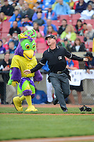 BirdZirk performs on the field with an actor portraying an umpire during a game between the Kane County Cougars and Beloit Snappers May 26, 2013 at Fifth Third Bank Ballpark in Geneva, Illinois.  Beloit defeated Kane County 6-5.  (Mike Janes/Four Seam Images)