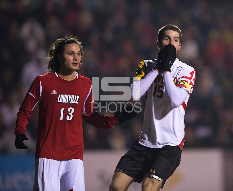 Patrick Mullins (15) of Maryland reacts to missing a shot on goal during the game at Ludwig Field in College Park, MD.  Maryland defeated Louisville, 3-1.