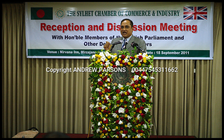 Members of the Conservative Party speaking at The Sylhet Chamber of Commerce and Industry event during Project Maja, Sylhet, Bangladesh, Sunday September 18,  2011 Photo By Andrew Parsons/Parsons Media