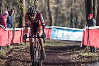 Yannick Peeters (BEL/Pauwels Sauzen) chasing the leader. <br /> <br /> U23 race<br /> Flandriencross Hamme / Belgium 2017
