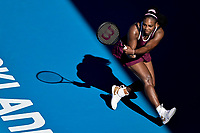12th January 2020, Auckland, New Zealand;  Serena Williams (USA) in action against Jessica Pegula (USA) during the Women's singles final at the 2020 Women's ASB Classic at the ASB Tennis Centre, Auckland, New Zealand.