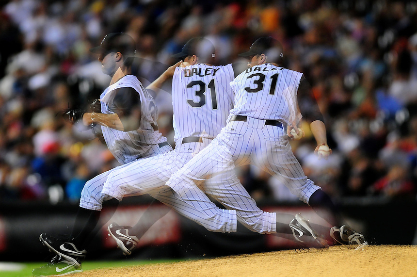 July 21, 2009: A multiple exposure of the delivery of Rockies relief pitcher Matt Daley during a regular season game between the Arizona Diamondbacks and the Colorado Rockies at Coors Field in Denver, Colorado. The Diamondbacks beat the Rockies 6-5. *****For editorial use only*****