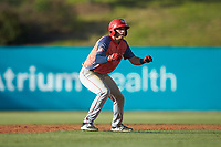 Branden Boggetto (6) of the Hagerstown Suns takes his lead off of second base against the Kannapolis Intimidators at Kannapolis Intimidators Stadium on May 6, 2018 in Kannapolis, North Carolina. The Intimidators defeated the Suns 4-3. (Brian Westerholt/Four Seam Images)