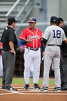 Danville Braves manager Rocket Wheeler (18) chats with Pulaski Yankees manager Tony Franklin (18) prior to their game at Legion Field on August 7, 2015 in Danville, Virginia.  The Yankees defeated the Braves 3-2. (Brian Westerholt/Four Seam Images)