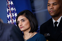 Administrator of the Centers for Medicare and Medicaid Services Seema Verma (L) and Surgeon General of the United States Jerome Adams (R) look on during a COVID-19 coronavirus press conference at the White House in Washington, DC, USA, 14 March 2020. To date there are 2175 confirmed cases of COVID-19 coronavirus in the US with 50 deaths.<br /> Credit: Shawn Thew / Pool via CNP/AdMedia