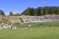 Maximilian Kieffer (GER) putts on the 13th green during Sunday's Final Round 4 of the 2018 Omega European Masters, held at the Golf Club Crans-Sur-Sierre, Crans Montana, Switzerland. 9th September 2018.<br /> Picture: Eoin Clarke | Golffile<br /> <br /> <br /> All photos usage must carry mandatory copyright credit (© Golffile | Eoin Clarke)