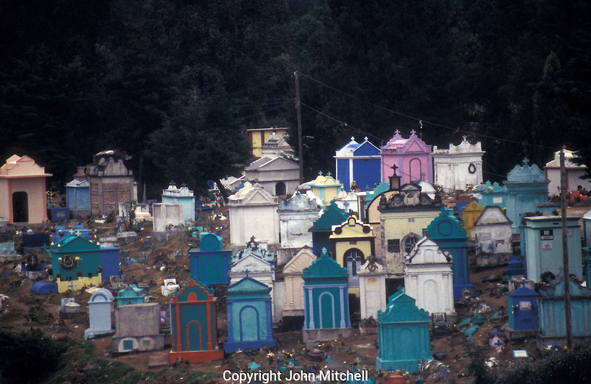 Colourful hillside Mayan cemetery in Chichicastenango, Guatemala
