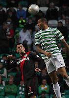 Kelvin Wilson climbs above Steven Thompson in the Celtic v St Mirren Clydesdale Bank Scottish Premier League match played at Celtic Park, Glasgow on 15.12.12.