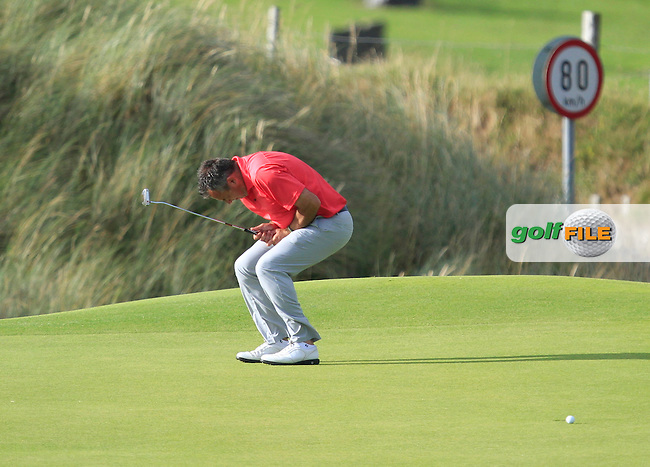 Pat Murray (Limerick) on the 12th green during the South of Ireland Amateur Open Championship 4th Round at Lahinch Golf Club  29th July 2013 <br /> Picture:  Thos Caffrey / www.golffile.ie