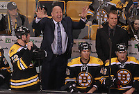 Boston, MA  - Boston Bruins head coach Claude Julien gets upset at a call in the 3rd period of a 3-0 shutout loss to the New York Rangers at TD Garden on  Tuesday, February 14, 2012.