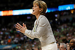 03 APR 2012:  Head Coach Kim Mulkey of Baylor University encourages her team against the University of Notre Dame during the Division I Women's Basketball Championship held at the Pepsi Center in Denver, CO.  Jamie Schwaberow/NCAA Photos