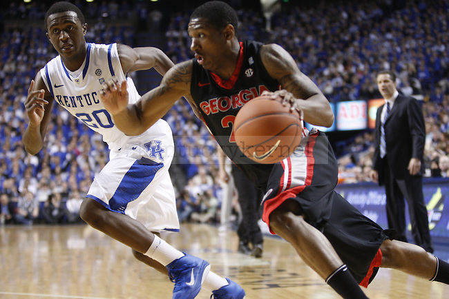 Freshman guard Doron Lamb chases after a georgia player during the first half of UK's home game against Georgia on Jan. 29, 2011. Photo by Brandon Goodwin   Staff