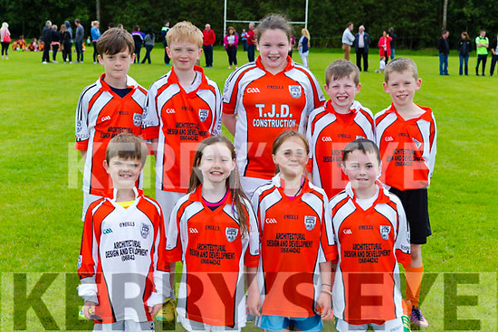 Brosna footballers at the Knocknagoshel pattern weekend fair on Sunday front row l-r: rory Leahy, Emer Murphy, Robin Smith, Michael Collins. Back row: Luke Palmer, Joel Smith, Katie Cotter, Darragh Barrett, Darragh Cahill